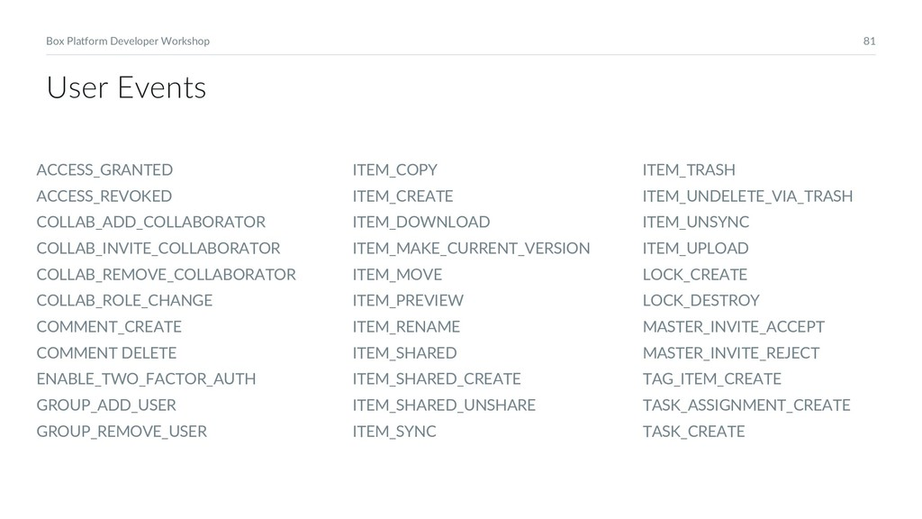 81 Box Platform Developer Workshop User Events ...
