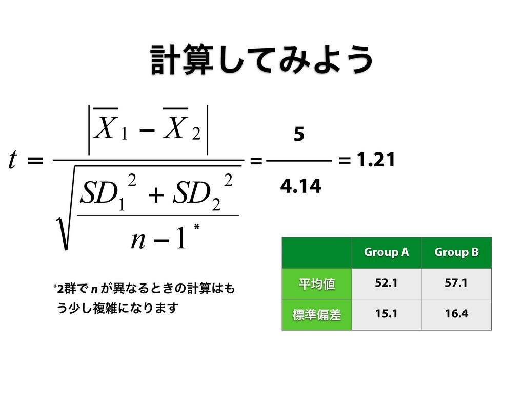1 2 2 2 1 2 1 − + − = n SD SD X X t * 5 = 4.14 ...