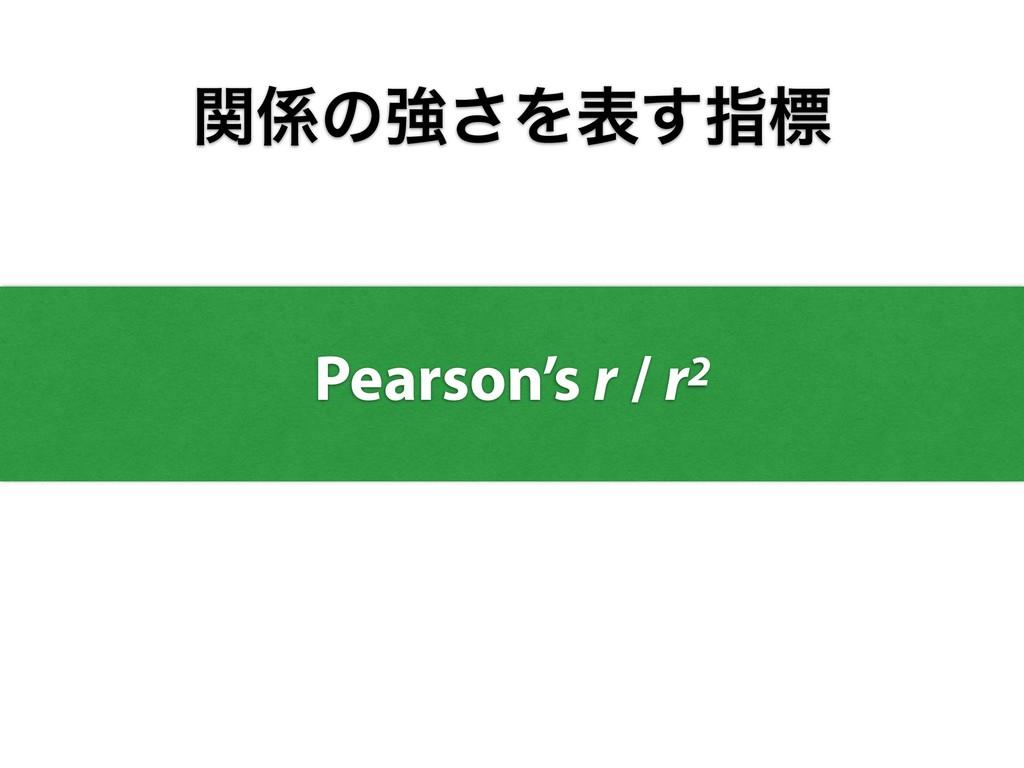 ؔͷڧ͞Λද͢ࢦඪ Pearson's r / r2