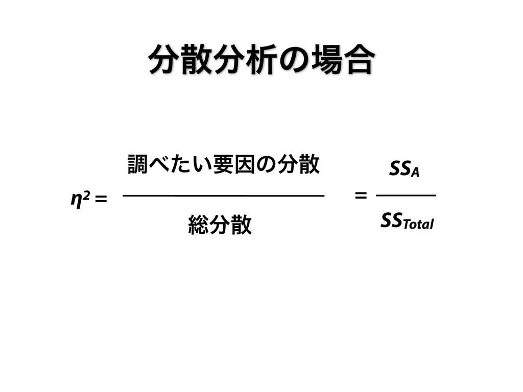 ੳͷ߹ ௐ͍ͨཁҼͷ η2 = ૯ SSA = SSTotal
