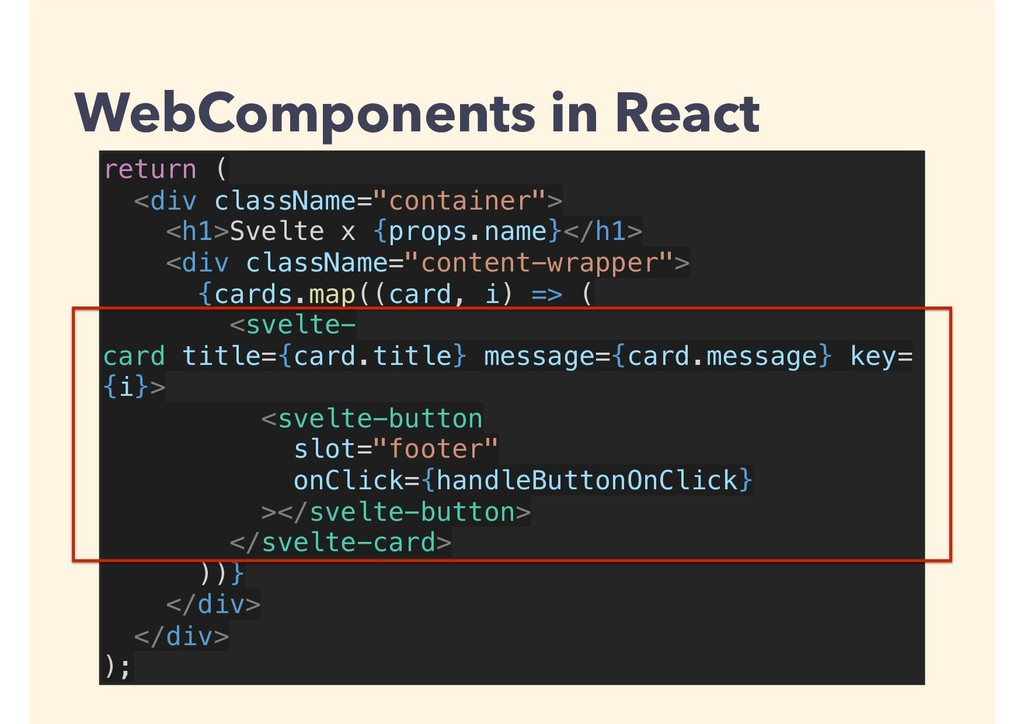 "return ( <div className=""container""> <h1>Svelte..."