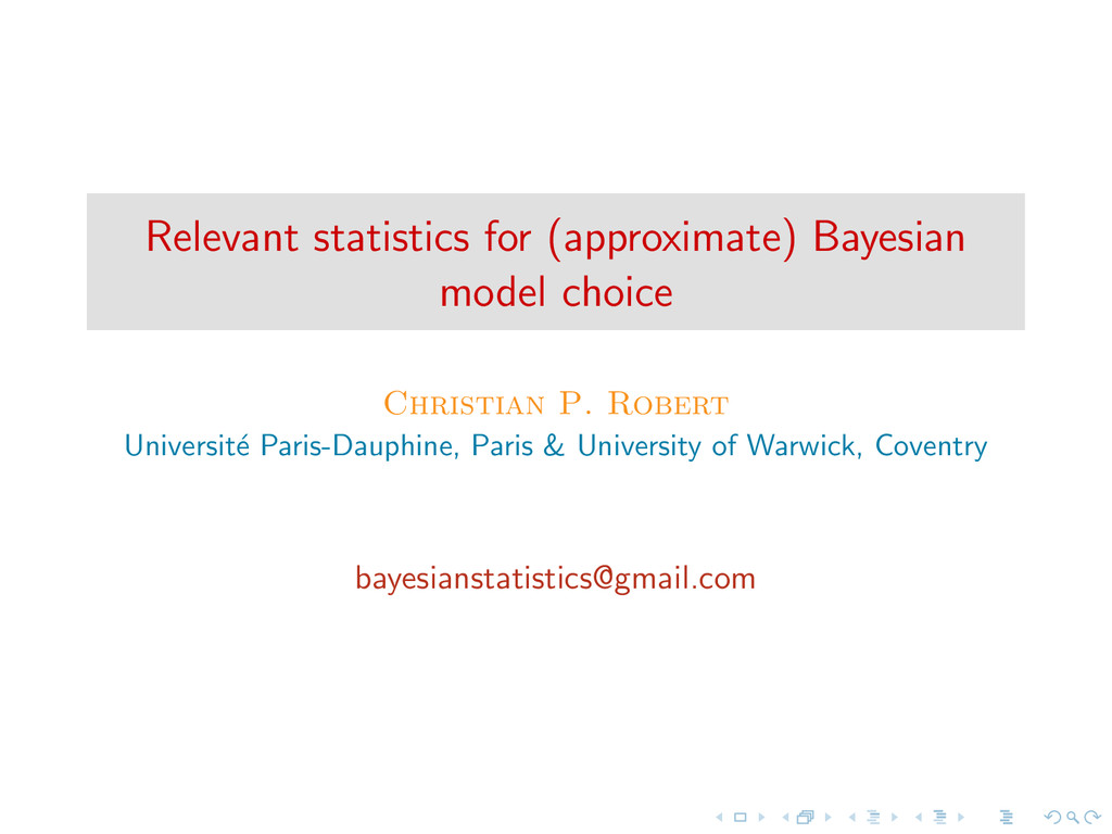 Relevant statistics for (approximate) Bayesian ...