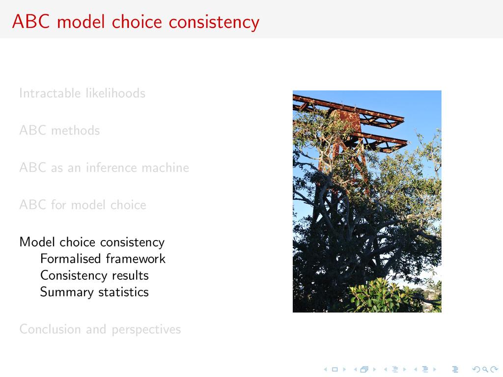 ABC model choice consistency Intractable likeli...