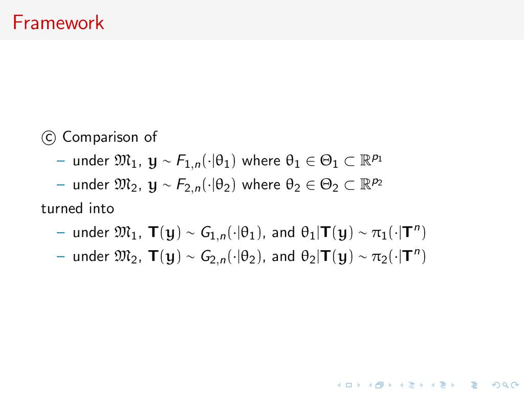 Framework c Comparison of – under M1, y ∼ F1,n(...