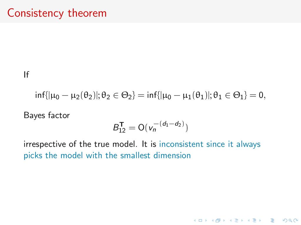Consistency theorem If inf{ µ0 − µ2(θ2) ; θ2 ∈ ...