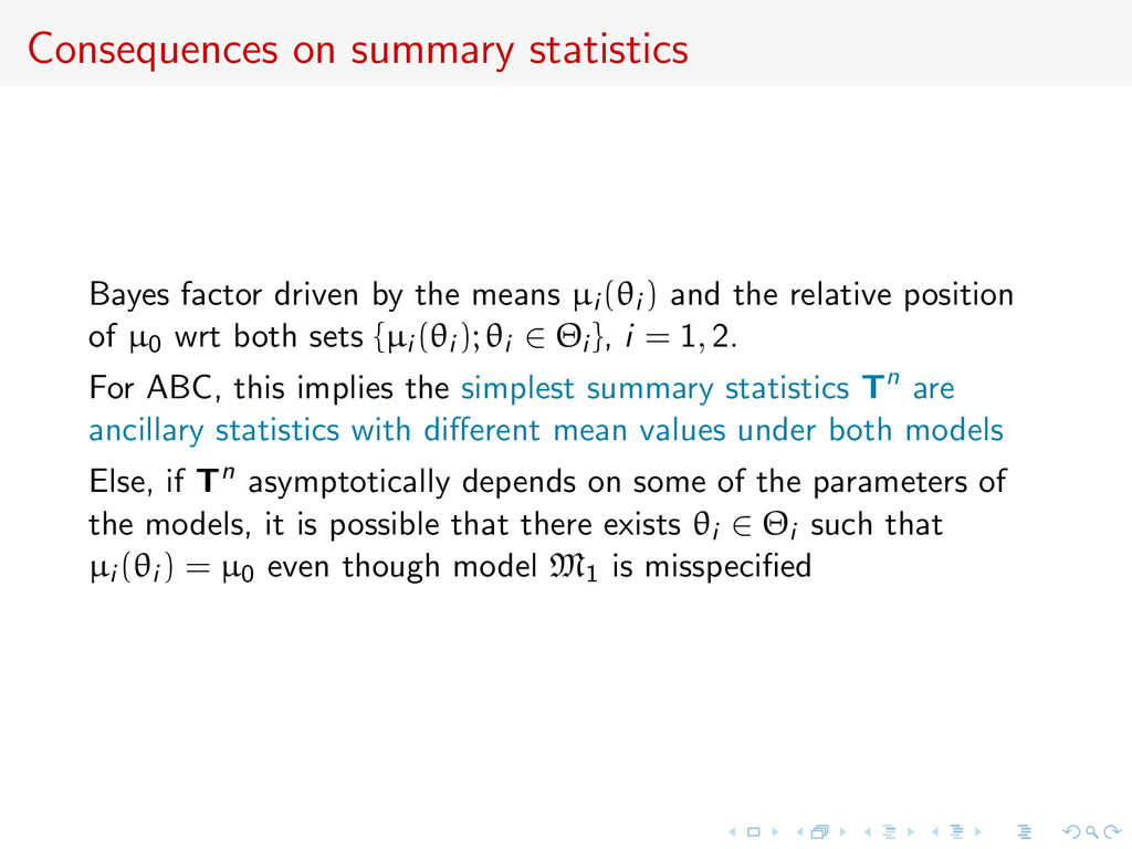 Consequences on summary statistics Bayes factor...