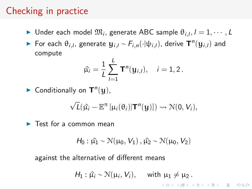 Checking in practice Under each model Mi , gene...
