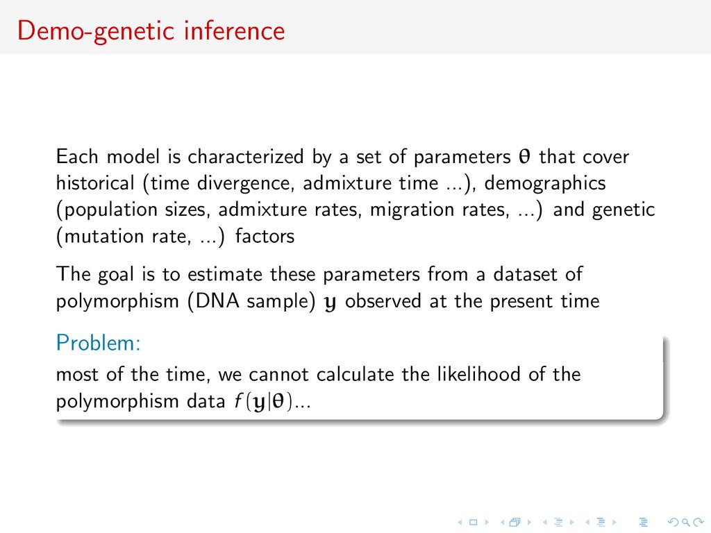 Demo-genetic inference Each model is characteri...