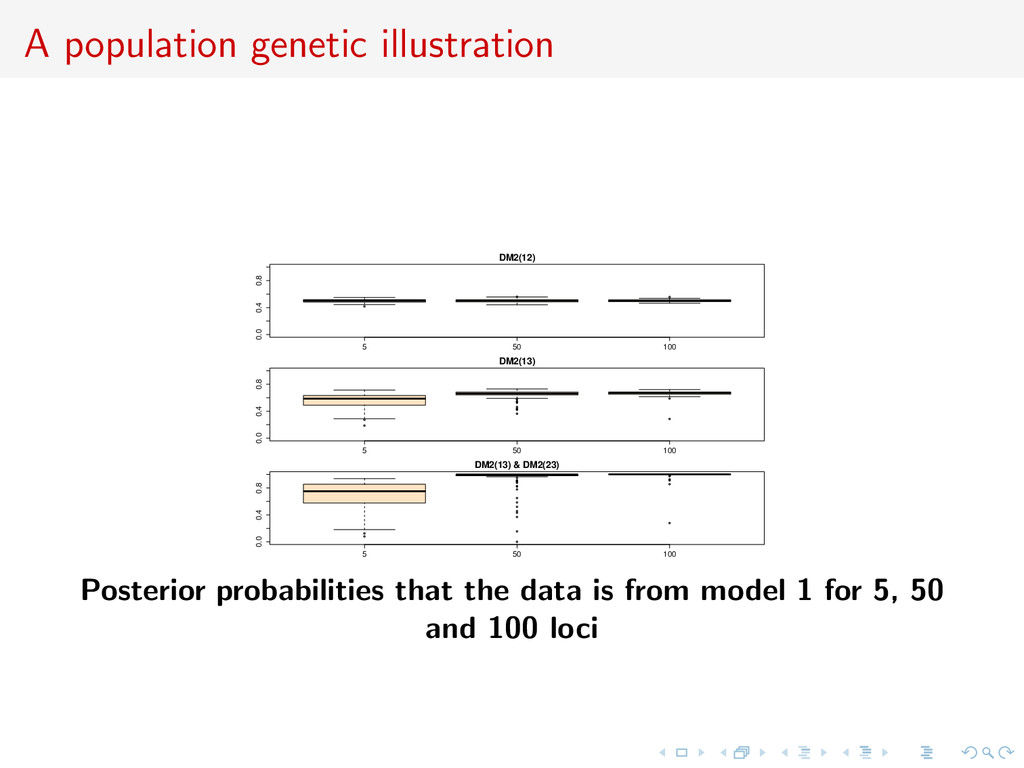 A population genetic illustration q q q 5 50 10...