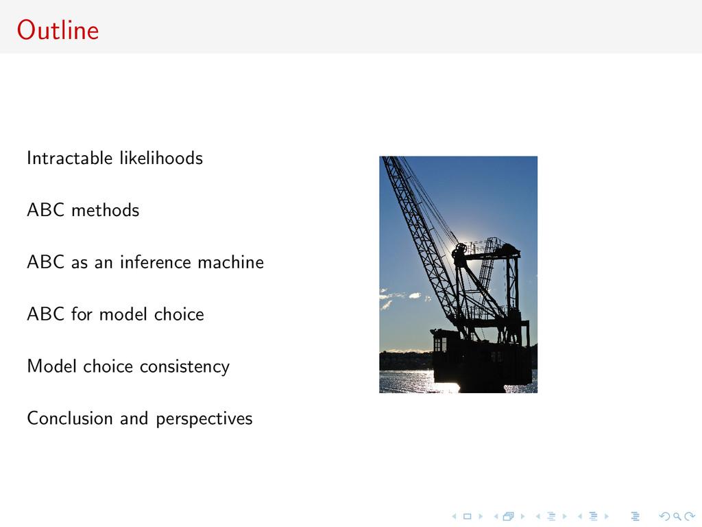 Outline Intractable likelihoods ABC methods ABC...