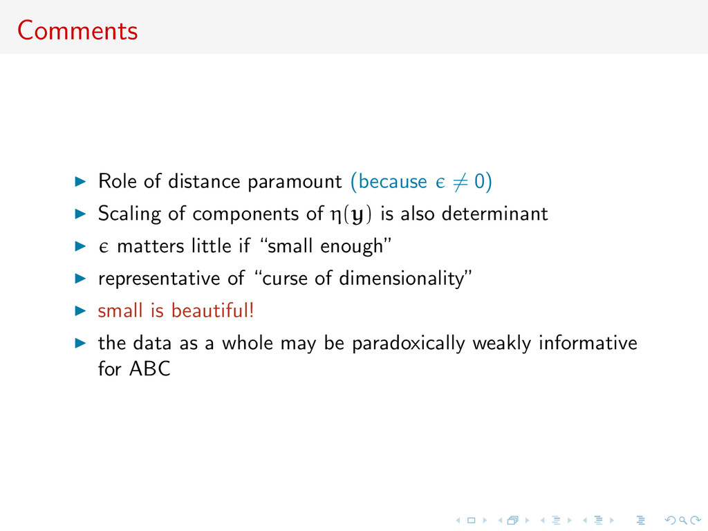 Comments Role of distance paramount (because = ...