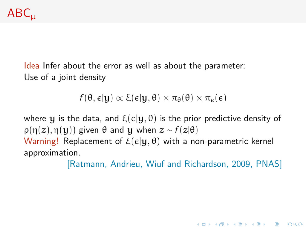 ABCµ Idea Infer about the error as well as abou...