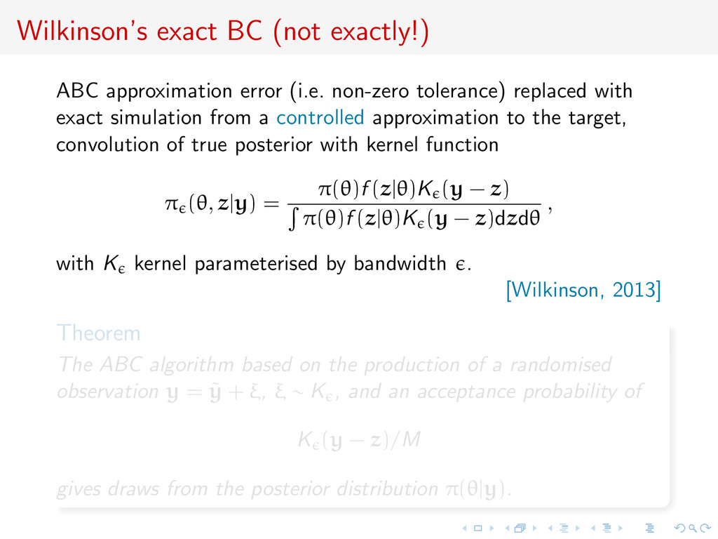 Wilkinson's exact BC (not exactly!) ABC approxi...