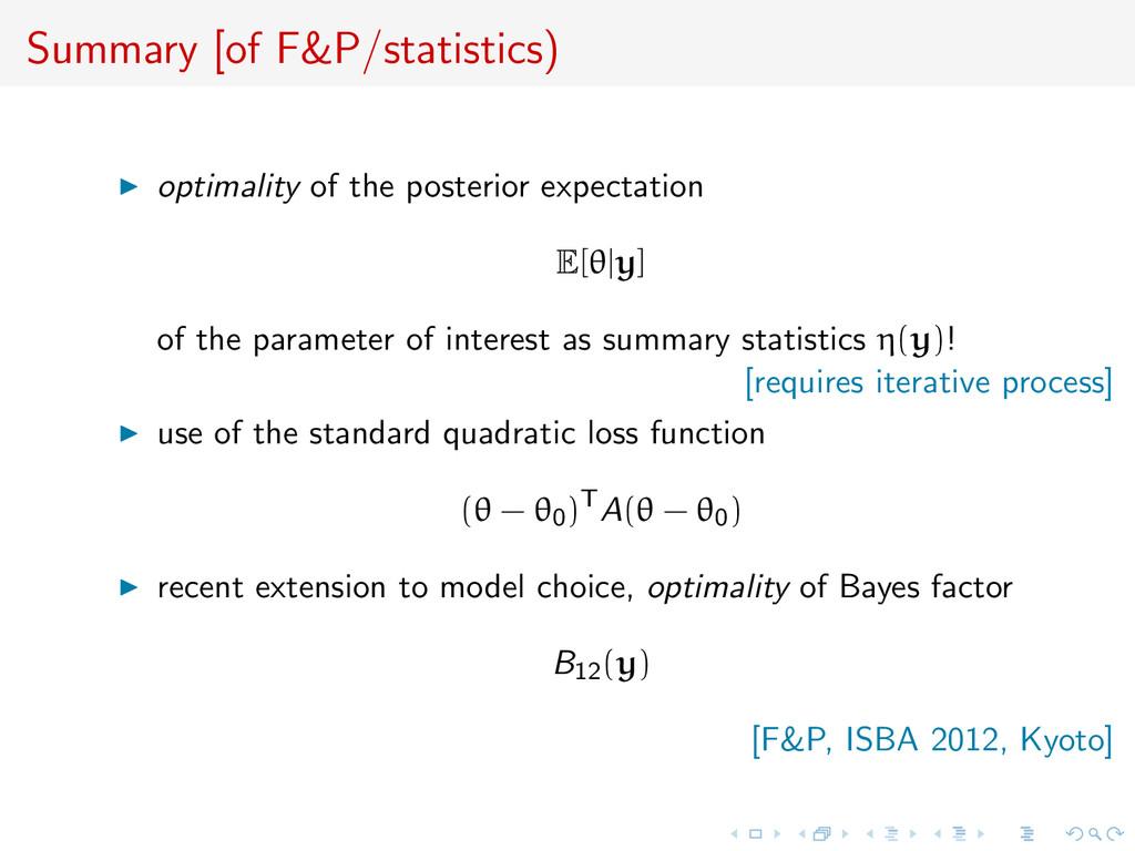 Summary [of F&P/statistics) optimality of the p...