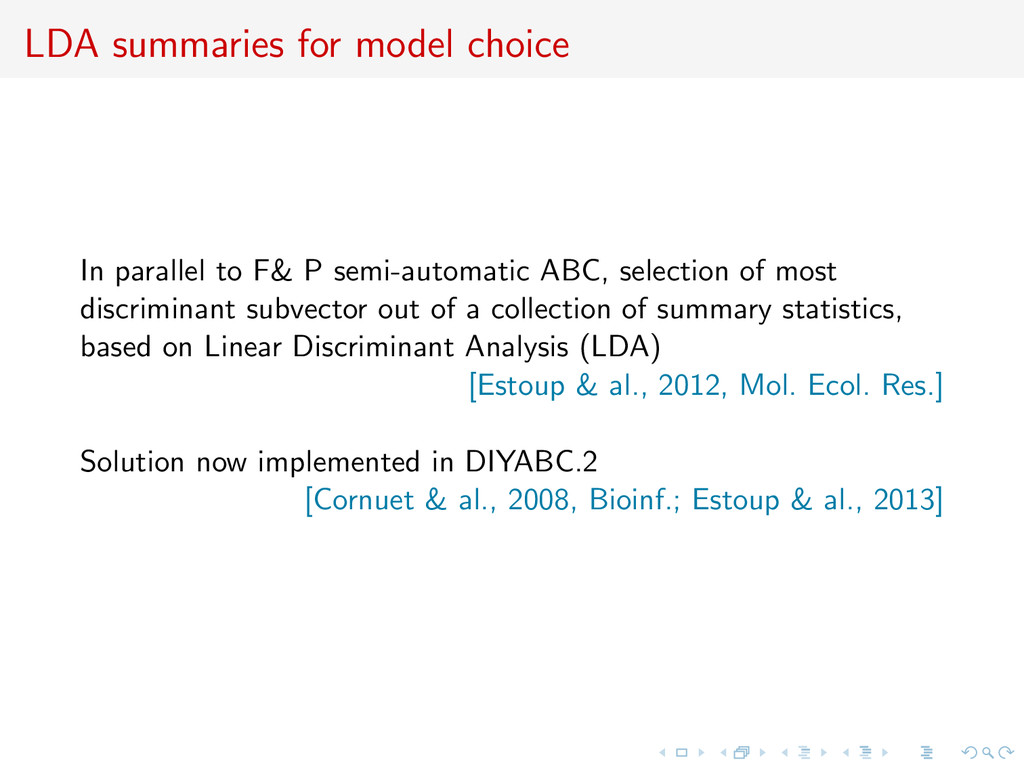 LDA summaries for model choice In parallel to F...