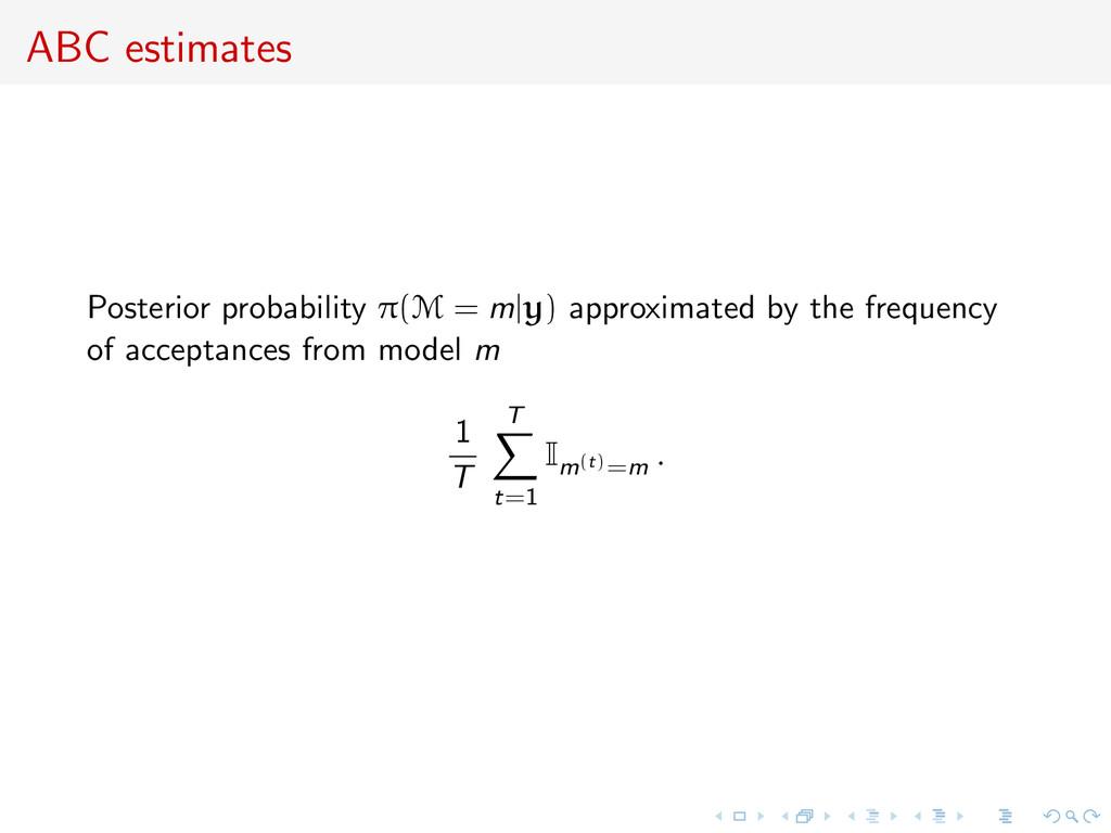 ABC estimates Posterior probability π(M = m y) ...