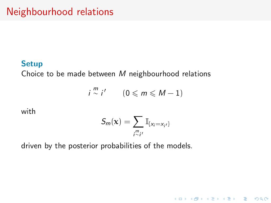 Neighbourhood relations Setup Choice to be made...