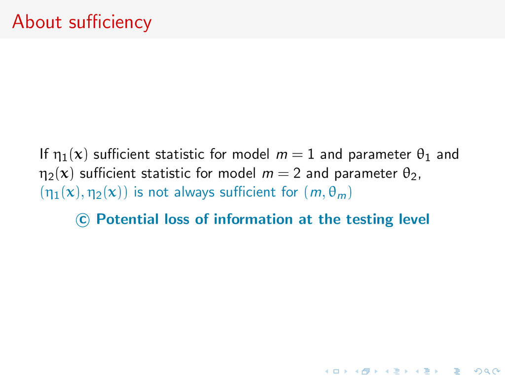 About sufficiency If η1(x) sufficient statistic for...