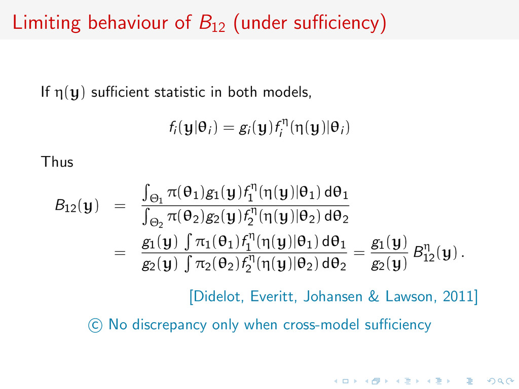Limiting behaviour of B12 (under sufficiency) If ...