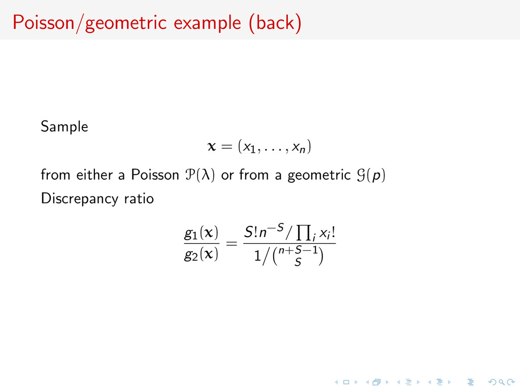 Poisson/geometric example (back) Sample x = (x1...