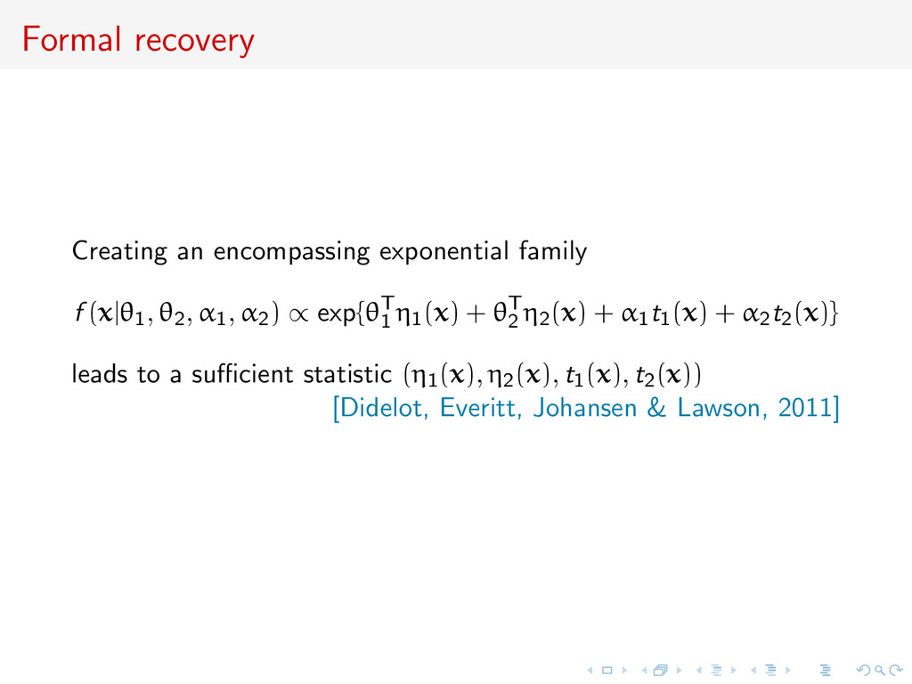 Formal recovery Creating an encompassing expone...