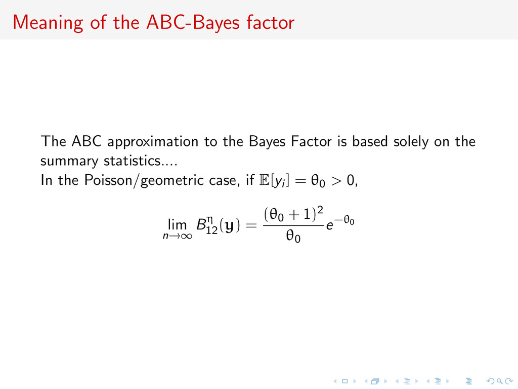 Meaning of the ABC-Bayes factor The ABC approxi...