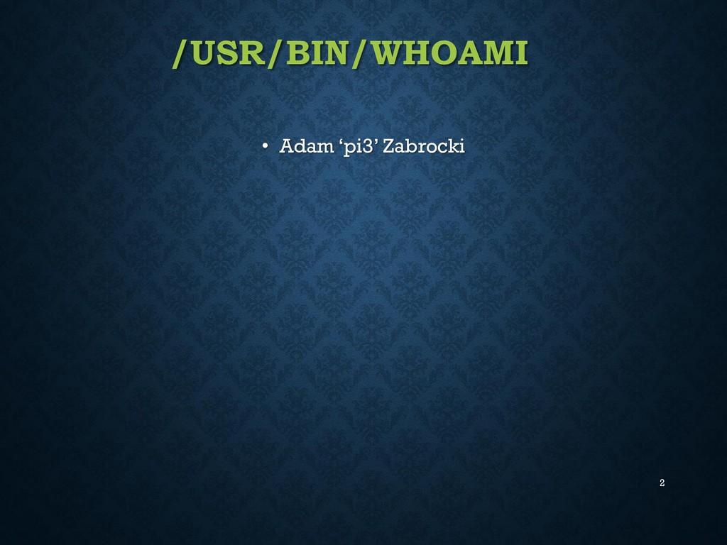 /USR/BIN/WHOAMI • Adam 'pi3' Zabrocki 2