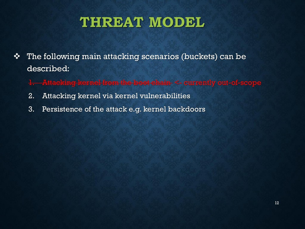 12 THREAT MODEL  The following main attacking ...