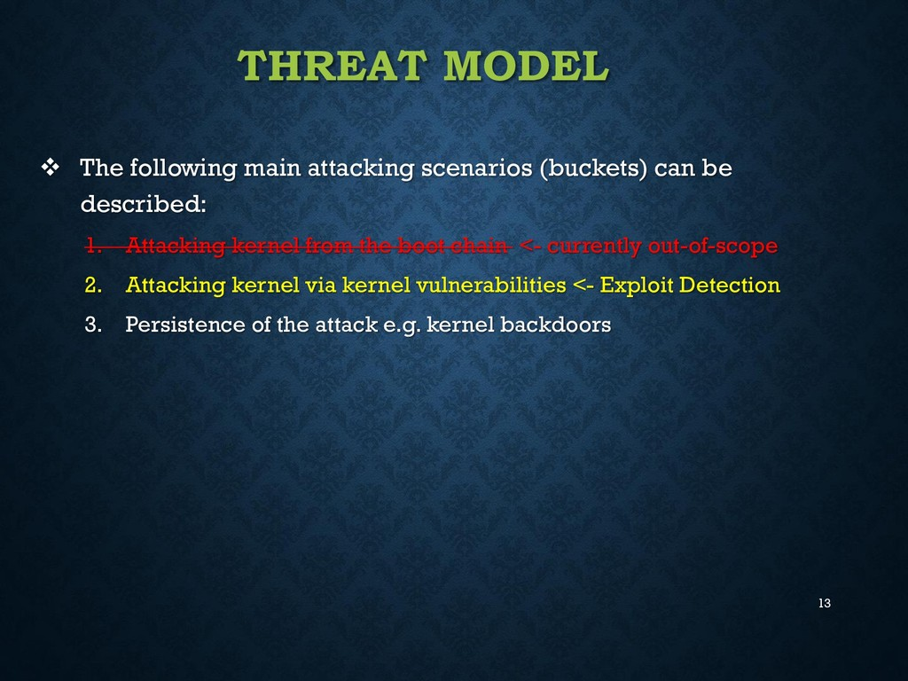 13 THREAT MODEL  The following main attacking ...