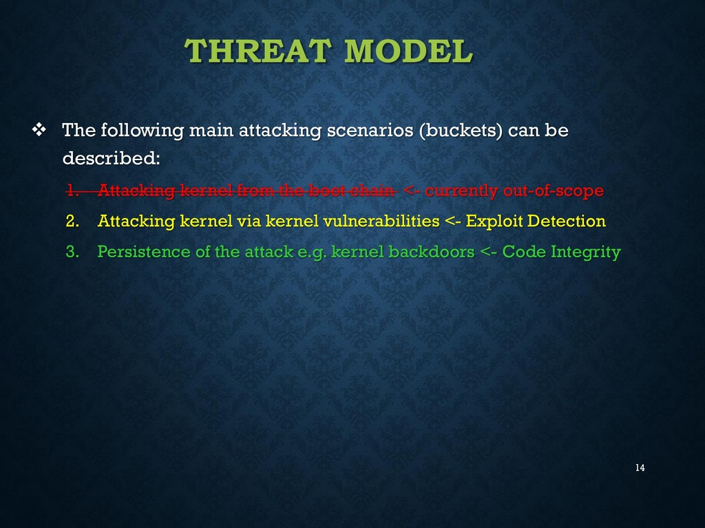 14 THREAT MODEL  The following main attacking ...