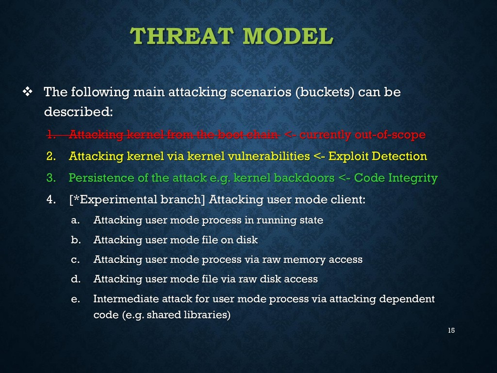 15 THREAT MODEL  The following main attacking ...