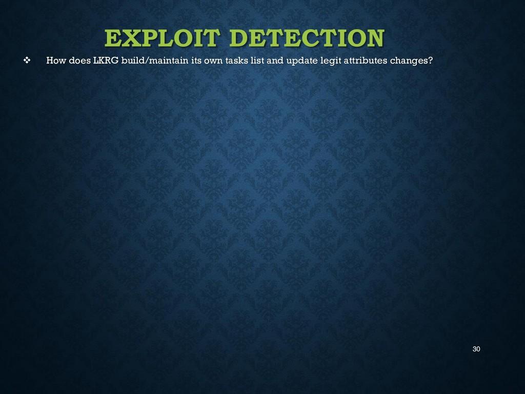 30 EXPLOIT DETECTION  How does LKRG build/main...