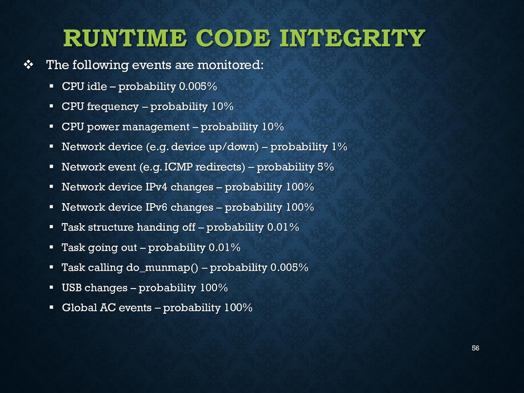 56 RUNTIME CODE INTEGRITY  The following event...