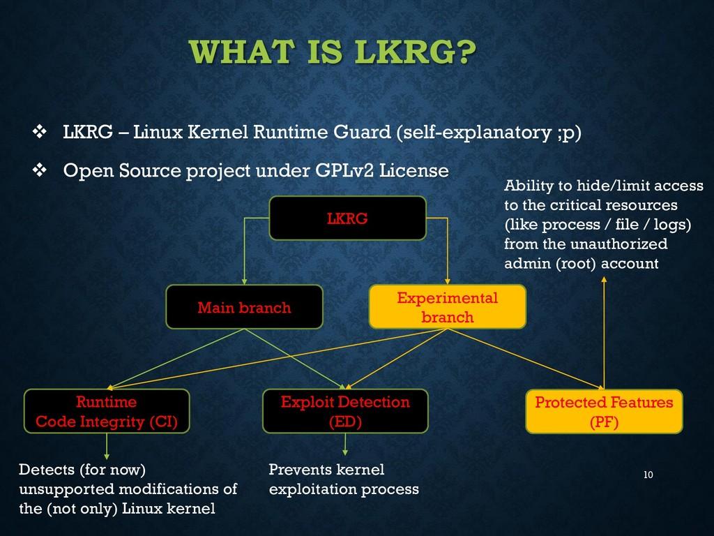 10 WHAT IS LKRG?  LKRG – Linux Kernel Runtime ...