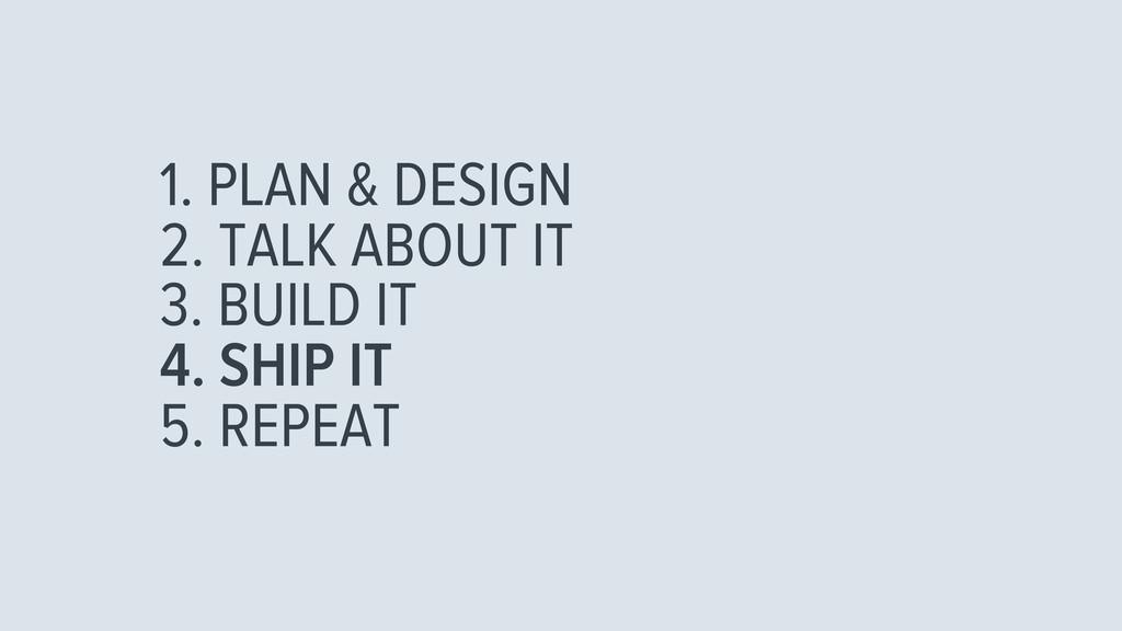 1. PLAN & DESIGN 2. TALK ABOUT IT 3. BUILD IT 4...
