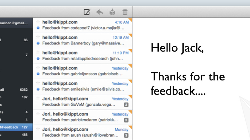 Text Hello Jack, Thanks for the feedback....