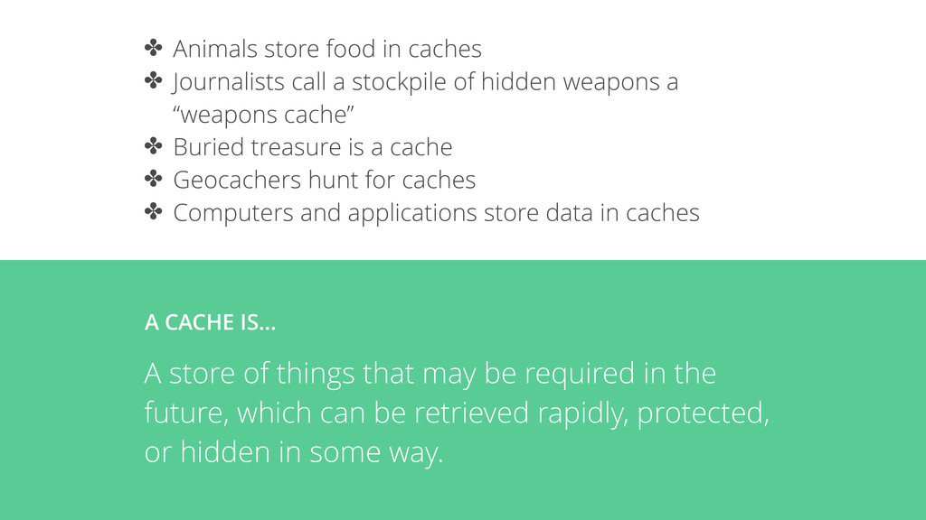 ✤ Animals store food in caches ✤ Journalists ca...