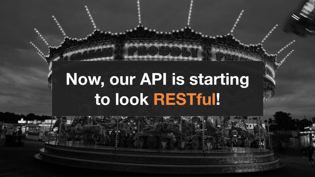 Now, our API is starting to look RESTful!