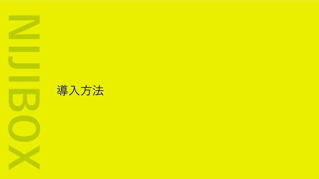 導⼊⽅法 NIJIBOX