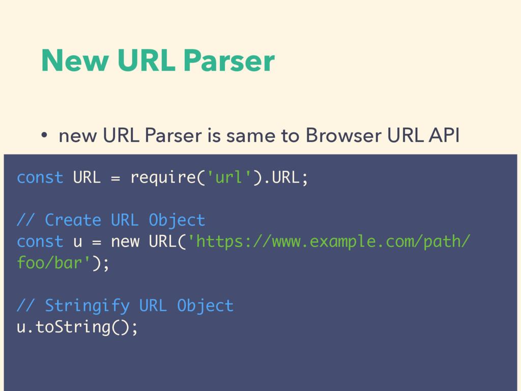 New URL Parser • new URL Parser is same to Brow...
