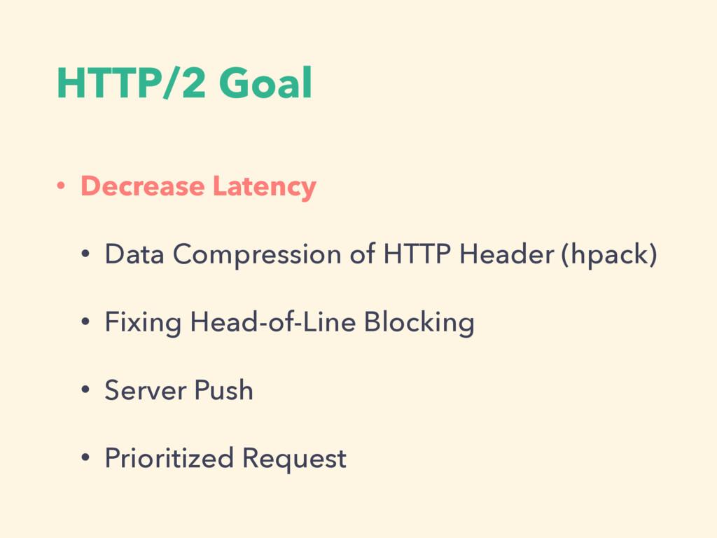 HTTP/2 Goal • Decrease Latency • Data Compressi...
