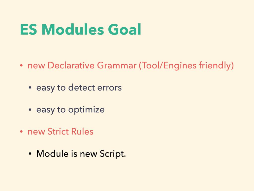 ES Modules Goal • new Declarative Grammar (Tool...