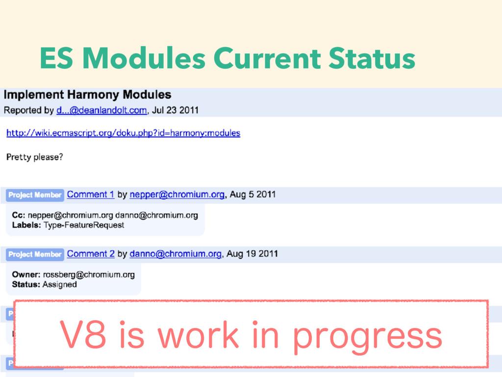 ES Modules Current Status 7JTXPSLJOQSPHSFTT