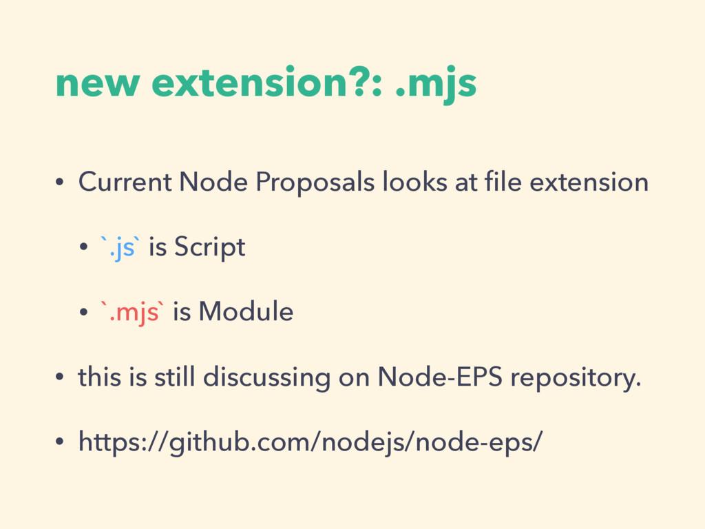 new extension?: .mjs • Current Node Proposals l...