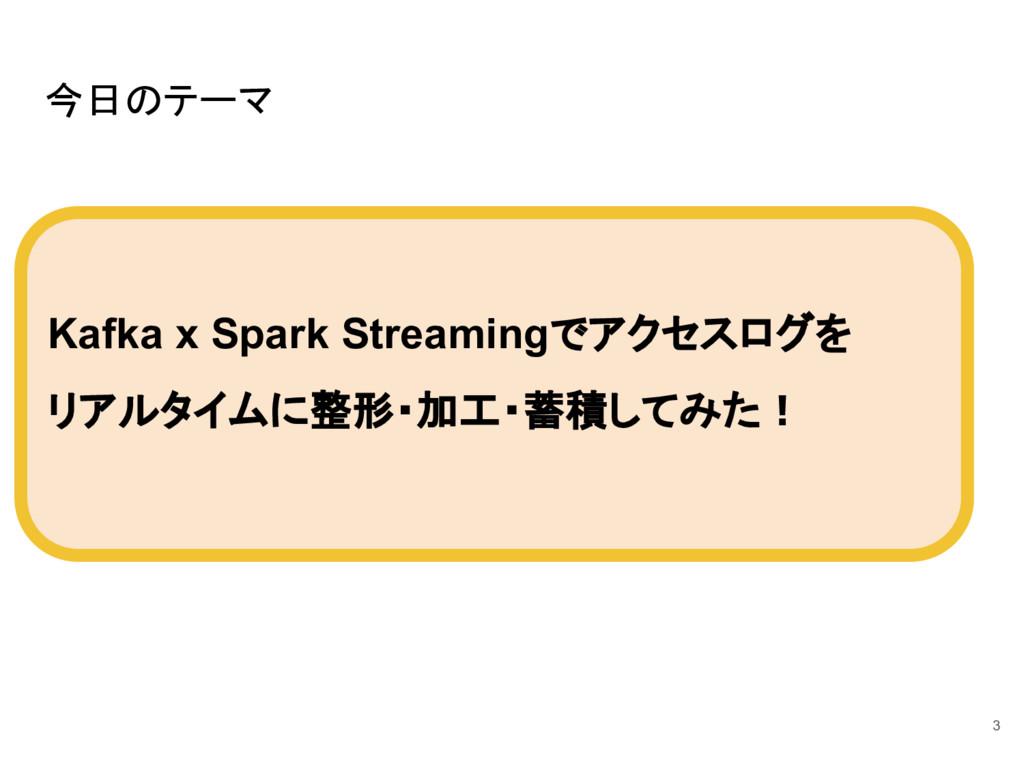 今日のテーマ Kafka x Spark Streamingでアクセスログを リアルタイムに整...