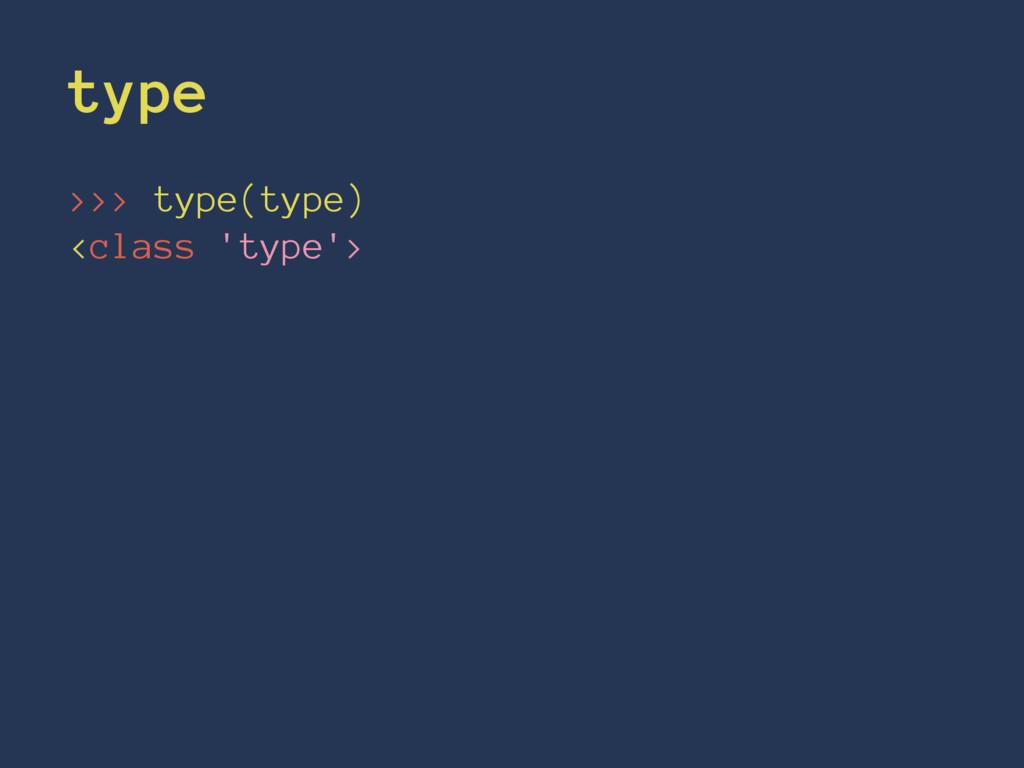 type >>> type(type) <class 'type'>