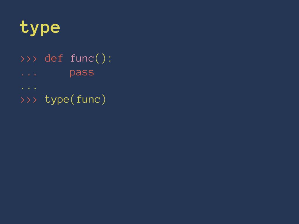 type >>> def func(): ... pass ... >>> type(func)