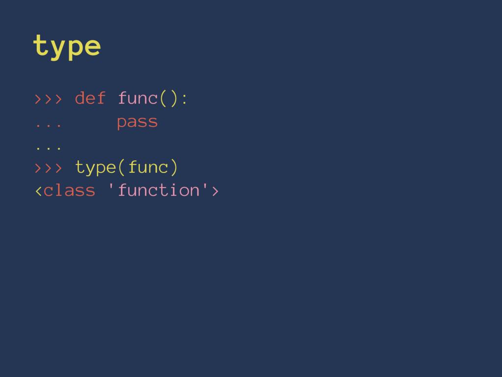 type >>> def func(): ... pass ... >>> type(func...
