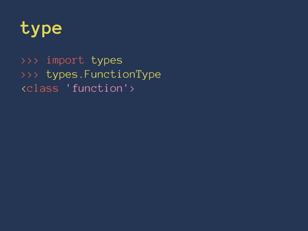type >>> import types >>> types.FunctionType <c...