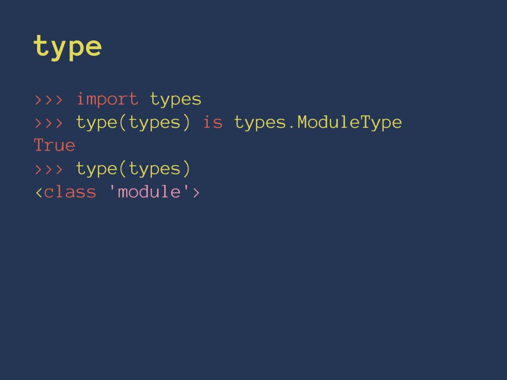 type >>> import types >>> type(types) is types....